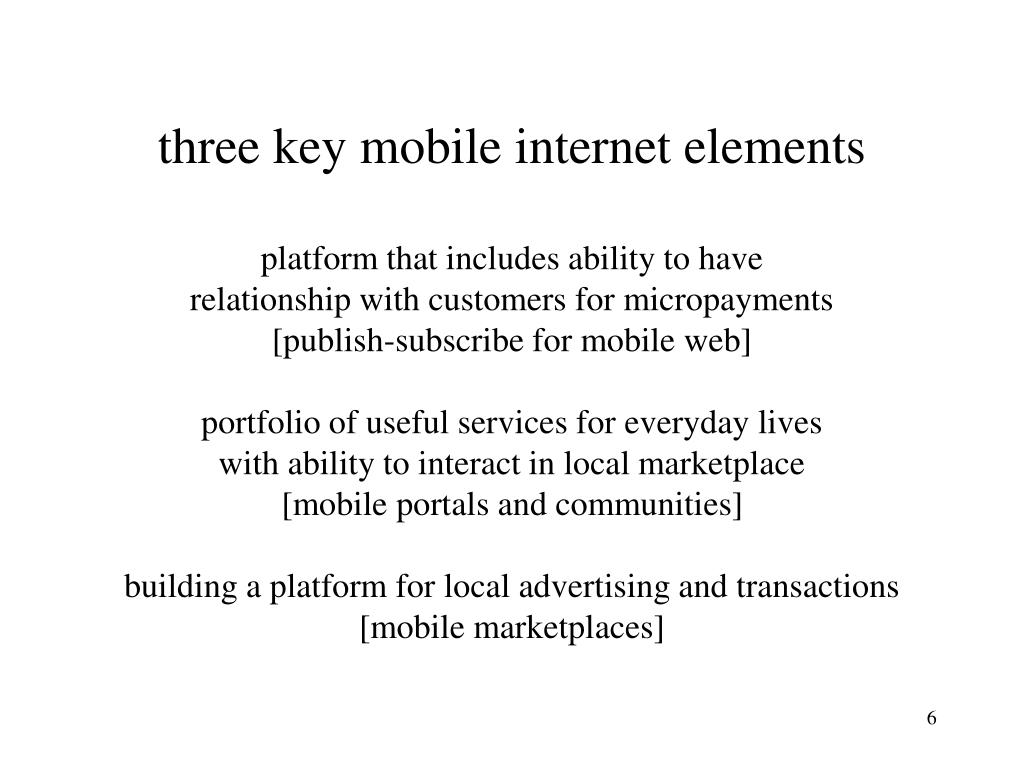 three key mobile internet elements