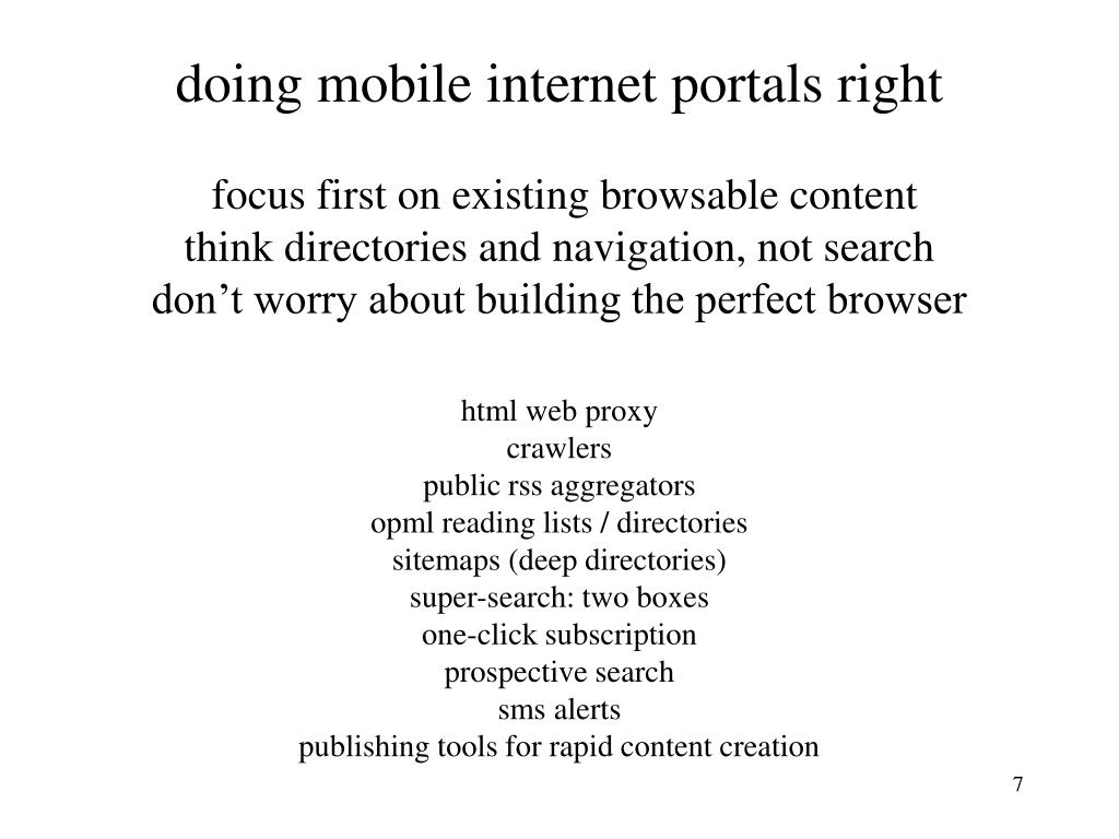 doing mobile internet portals right