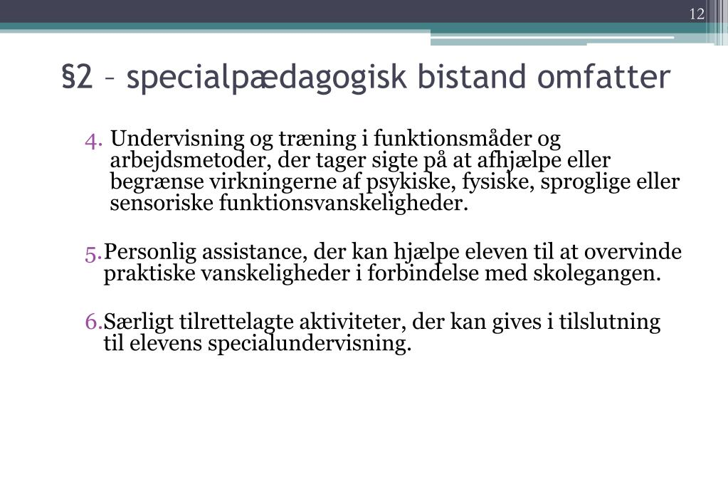 §2 – specialpædagogisk bistand omfatter