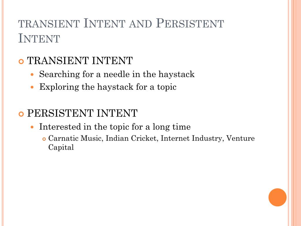 transient Intent and Persistent Intent