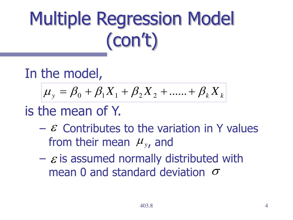 Multiple Regression Model (con't)