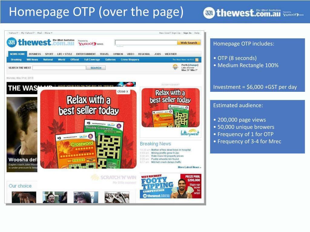 Homepage OTP (over the page)