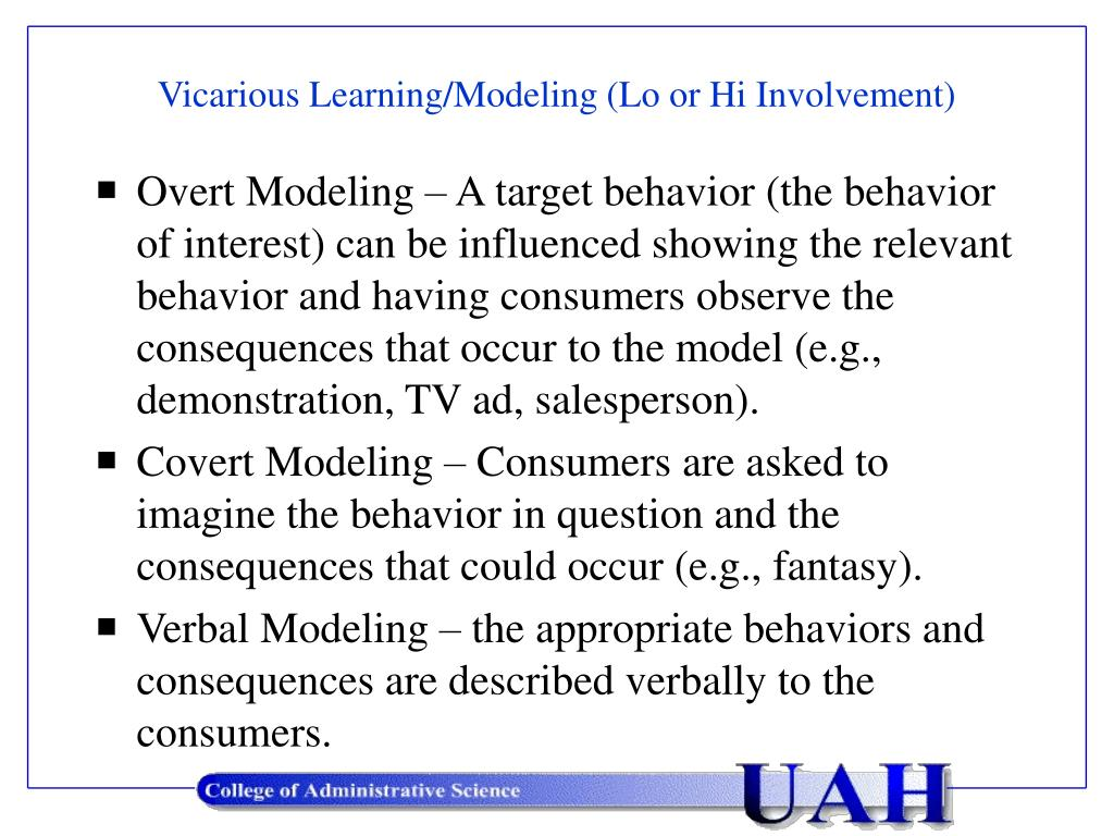 Vicarious Learning/Modeling (Lo or Hi Involvement)