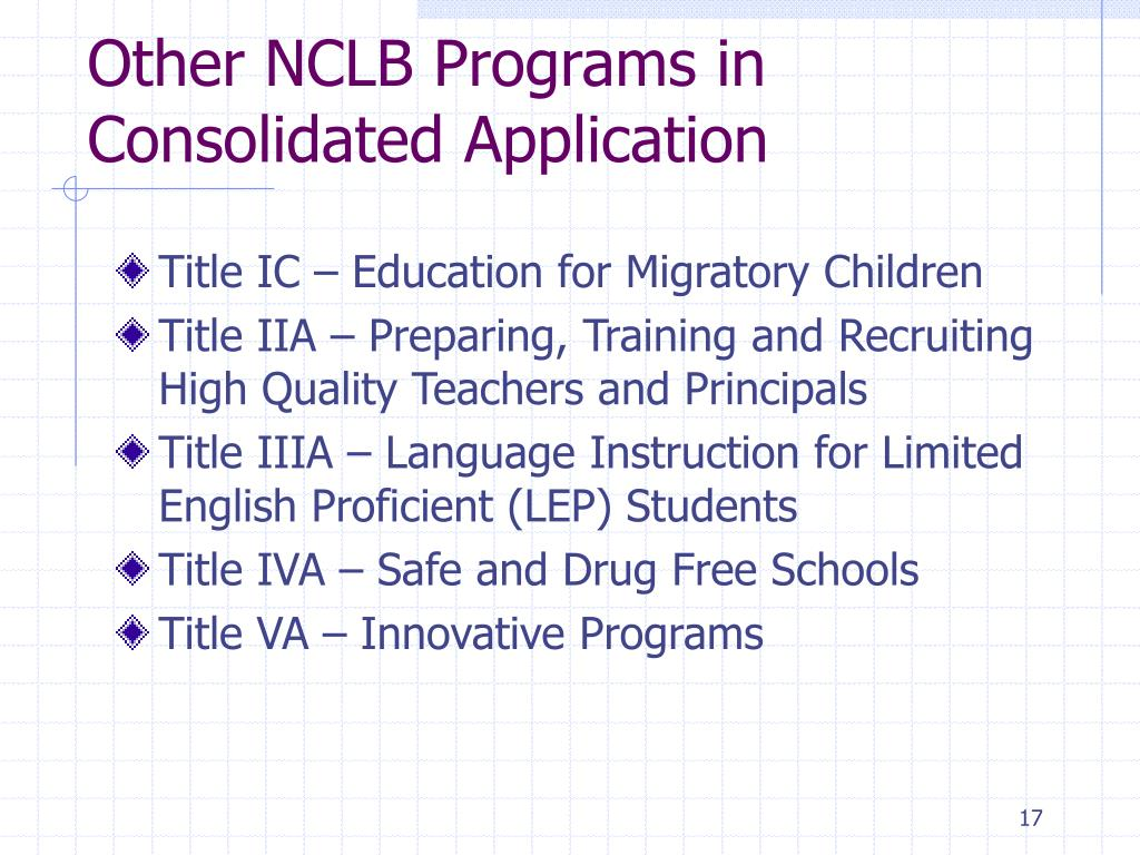 Other NCLB Programs in Consolidated Application
