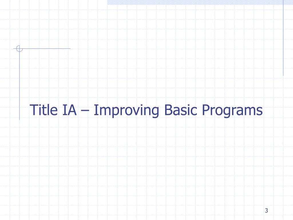 Title IA – Improving Basic Programs