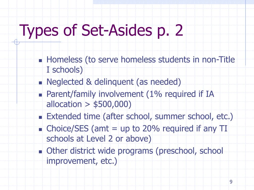 Types of Set-Asides p. 2