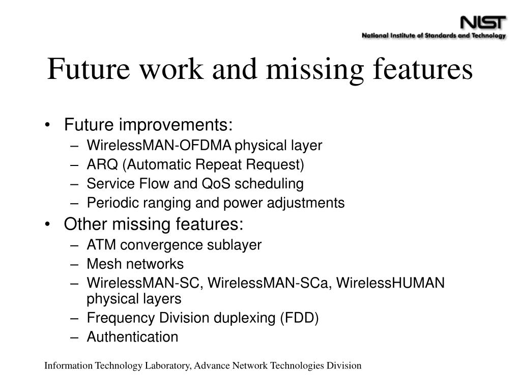 Future work and missing features