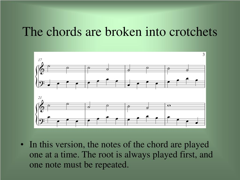 The chords are broken into crotchets