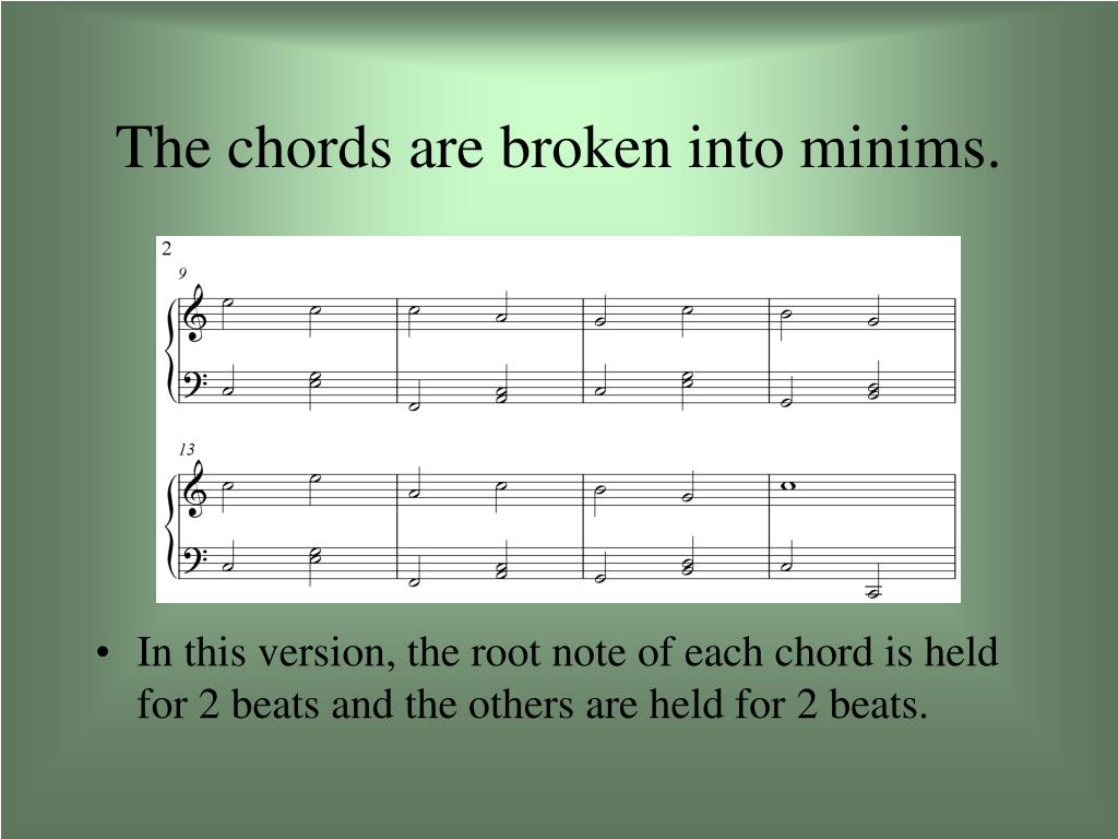 The chords are broken into minims.