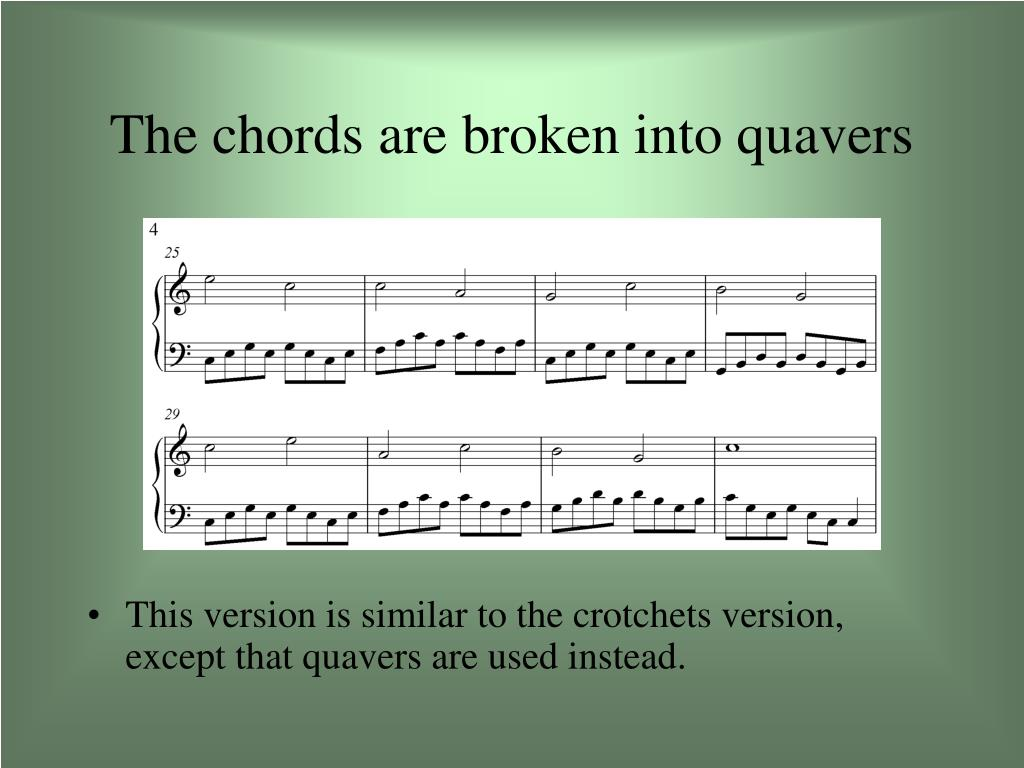The chords are broken into quavers