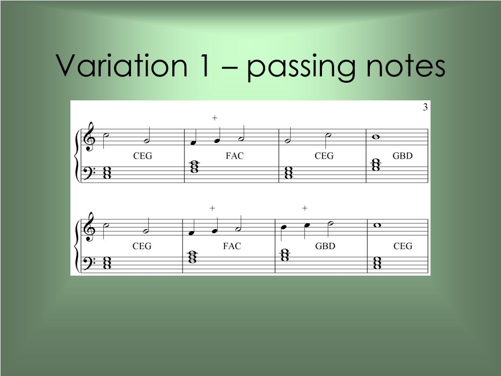 Variation 1 – passing notes