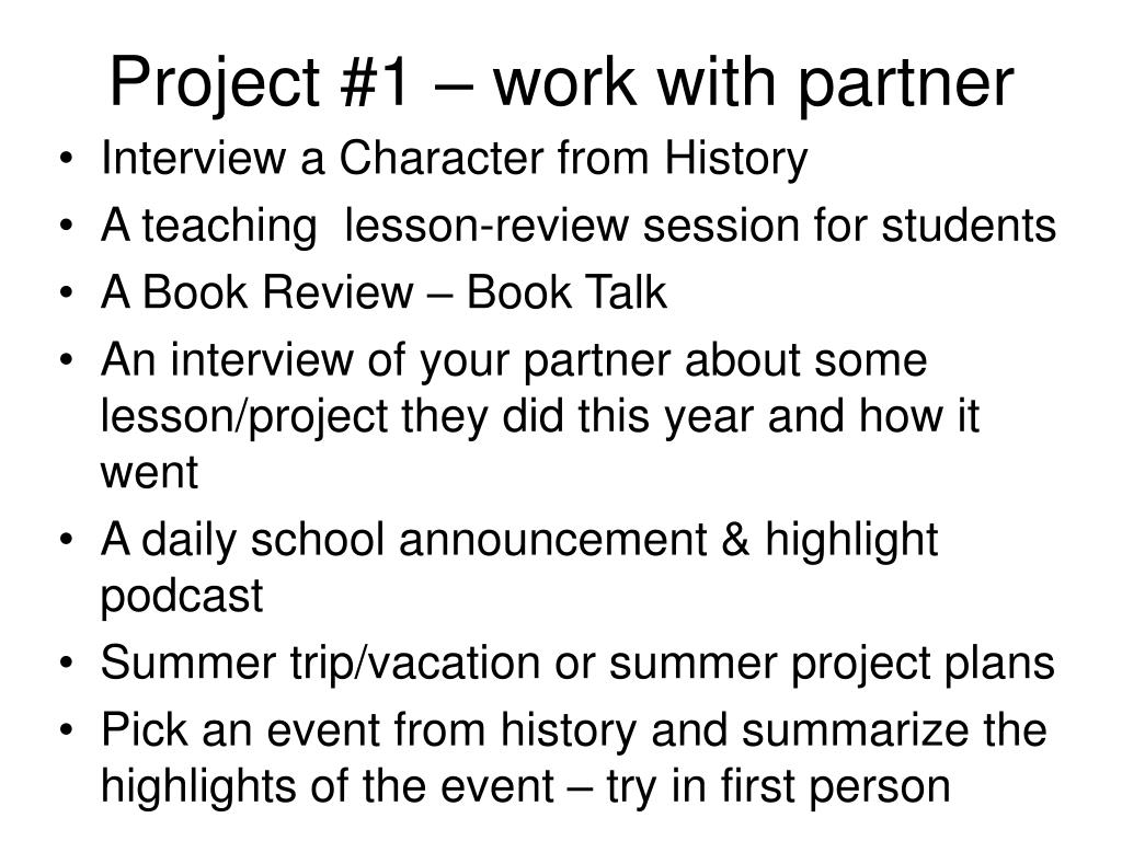 Project #1 – work with partner