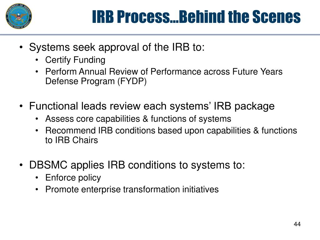 IRB Process…Behind the Scenes