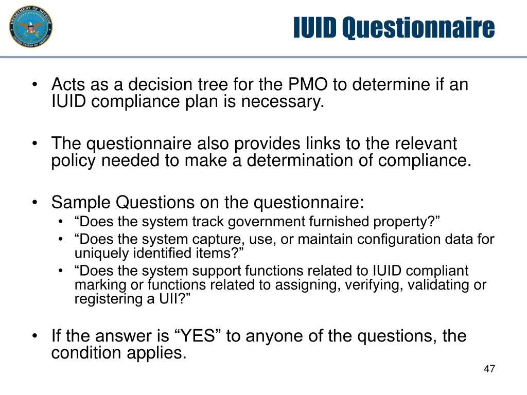IUID Questionnaire