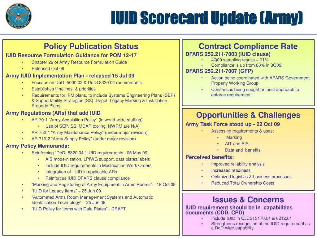 IUID Scorecard Update (Army)