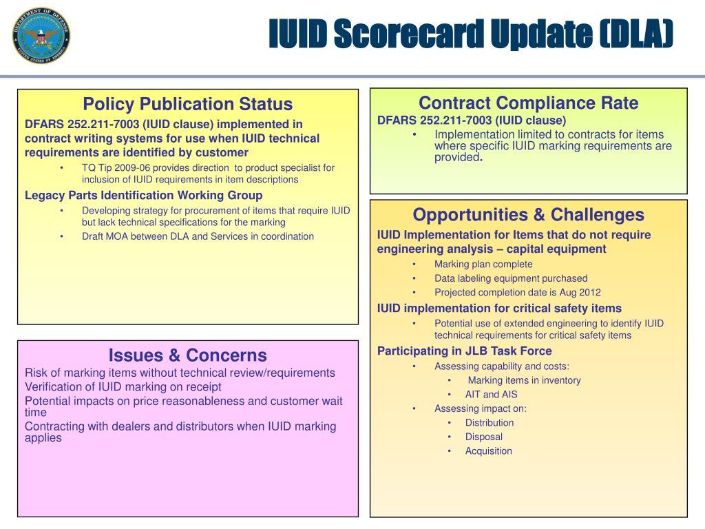 IUID Scorecard Update (DLA)