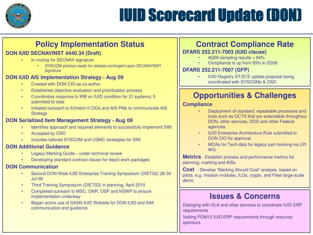 IUID Scorecard Update (DON)
