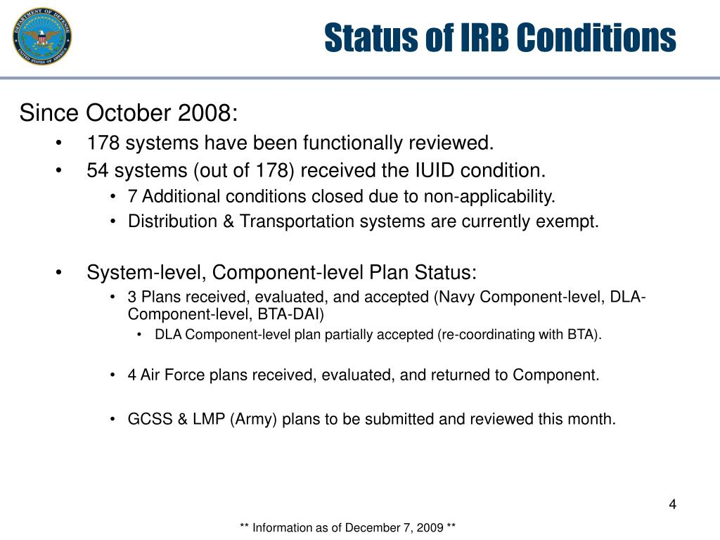 Status of IRB Conditions