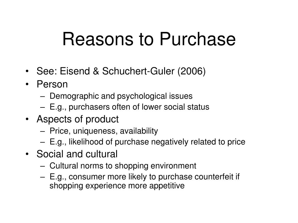 Reasons to Purchase