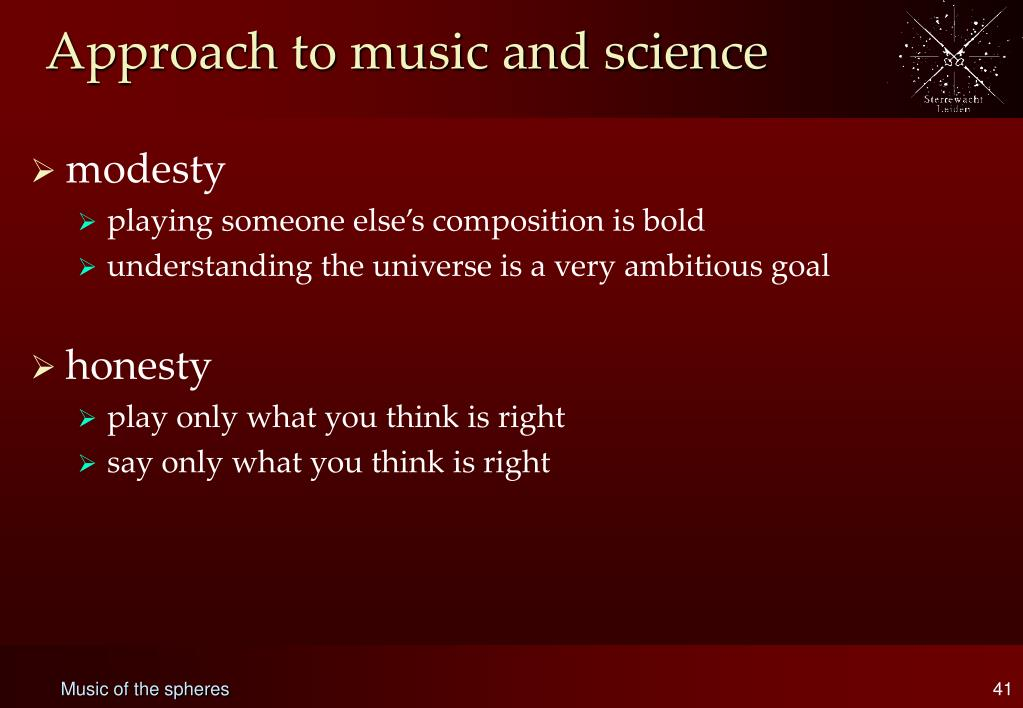 Approach to music and science