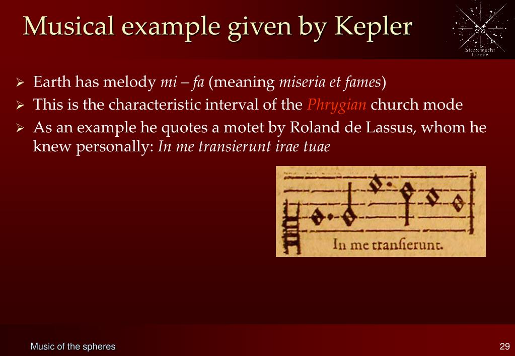 Musical example given by Kepler