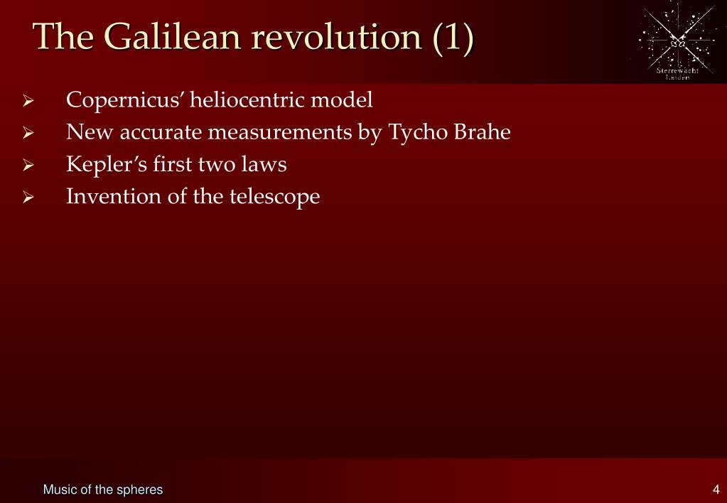The Galilean revolution (1)