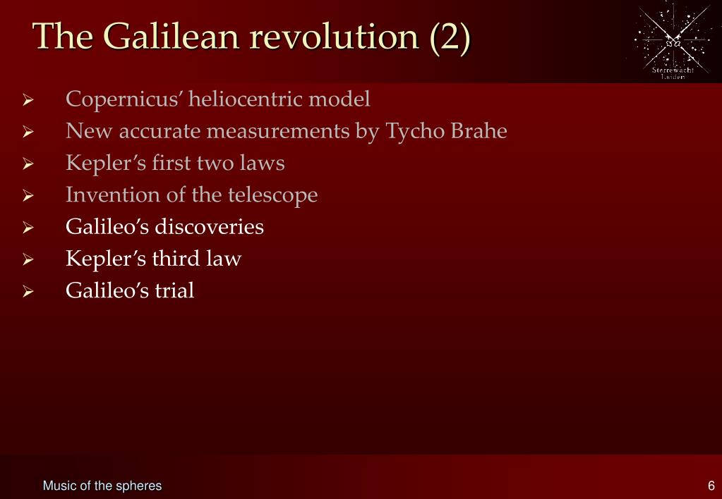 The Galilean revolution (2)