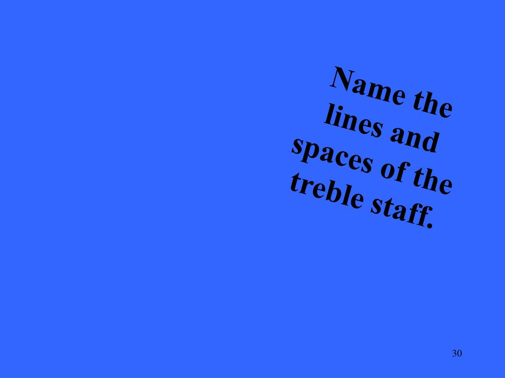 Name the lines and spaces of the treble staff.