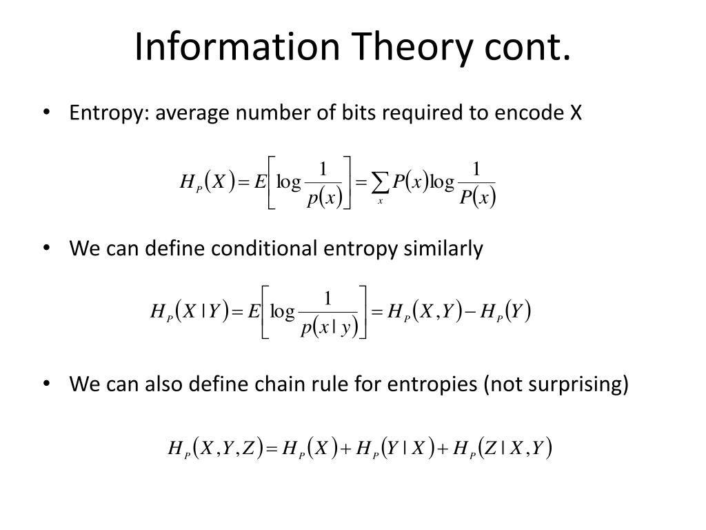 Information Theory cont.