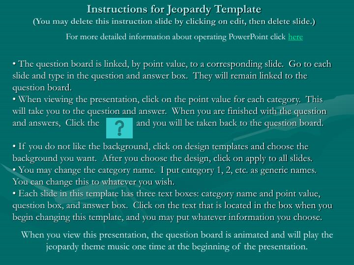 Instructions for Jeopardy Template