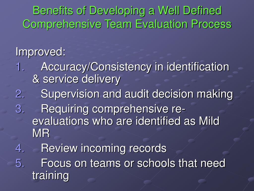 Benefits of Developing a Well Defined Comprehensive Team Evaluation Process