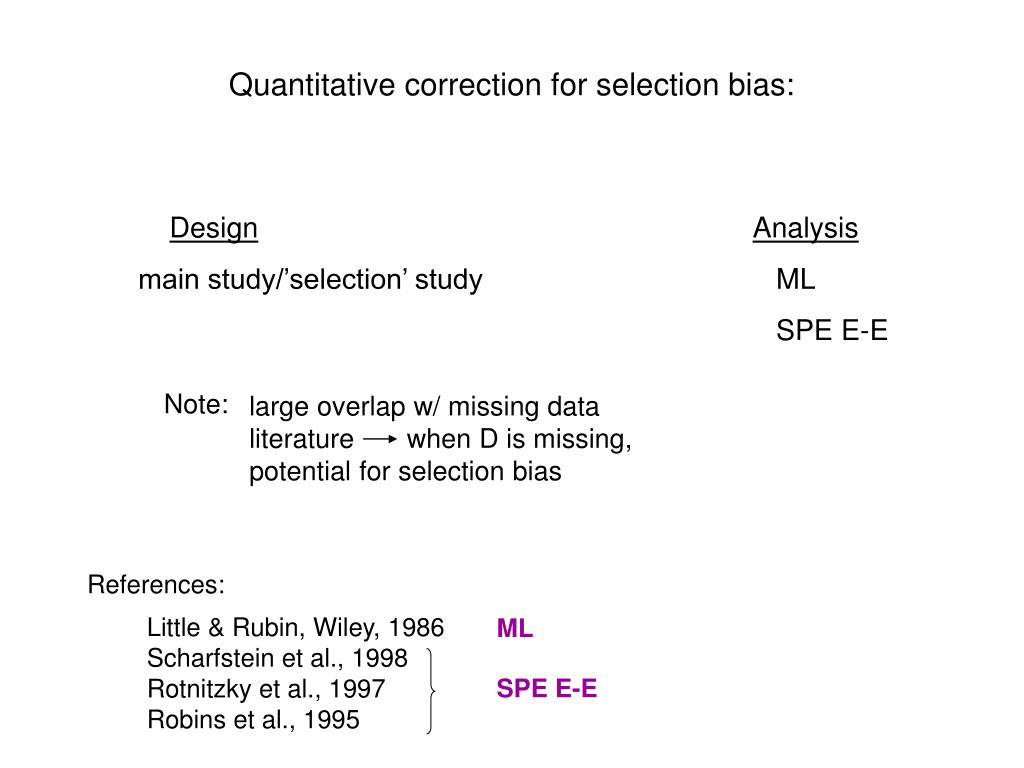 Quantitative correction for selection bias: