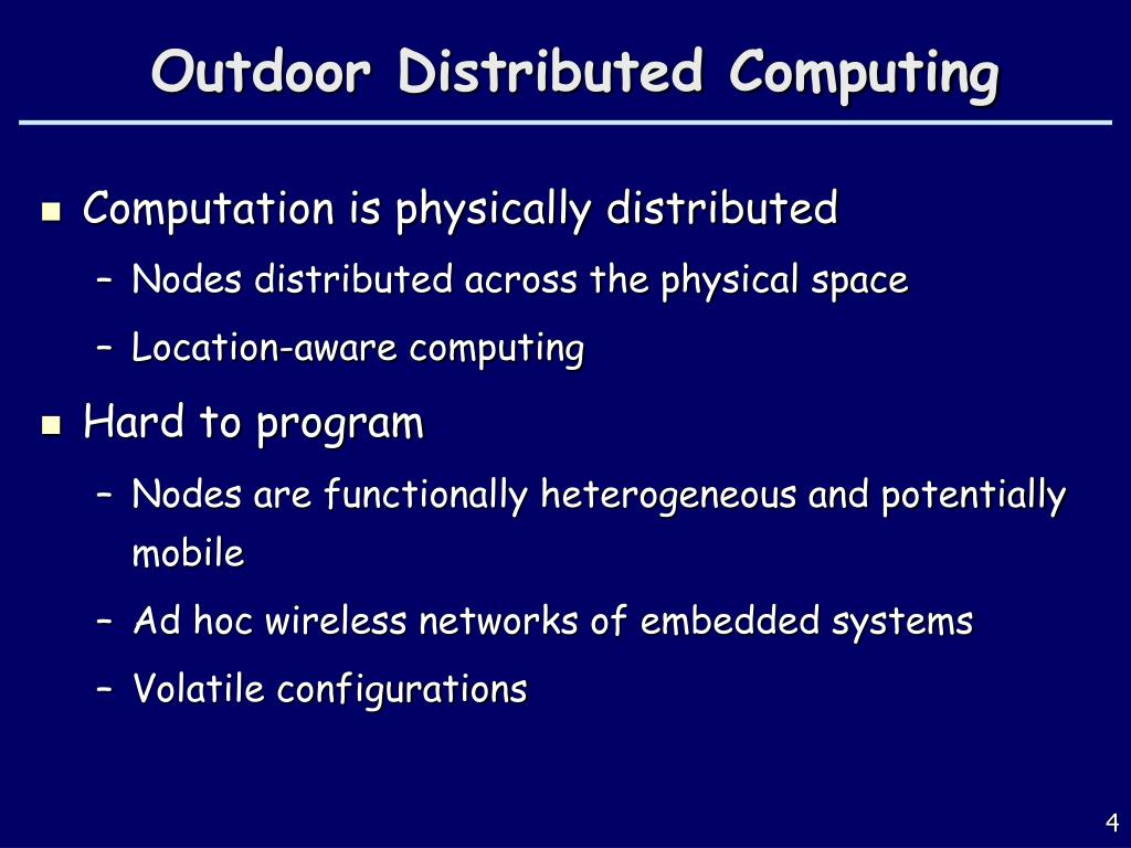 Outdoor Distributed Computing