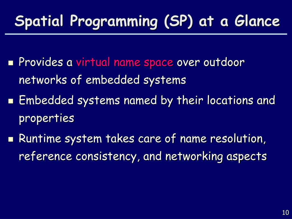 Spatial Programming (SP) at a Glance