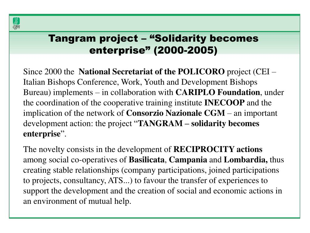 "Tangram project – ""Solidarity becomes enterprise"" (2000-2005)"