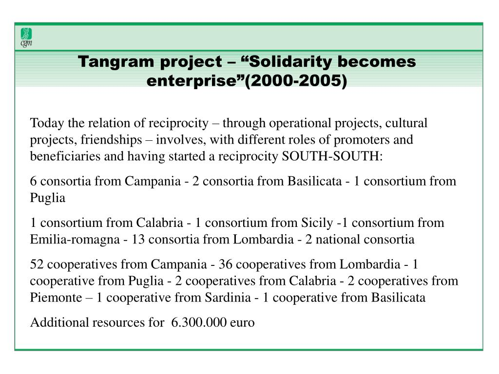 "Tangram project – ""Solidarity becomes enterprise""(2000-2005)"
