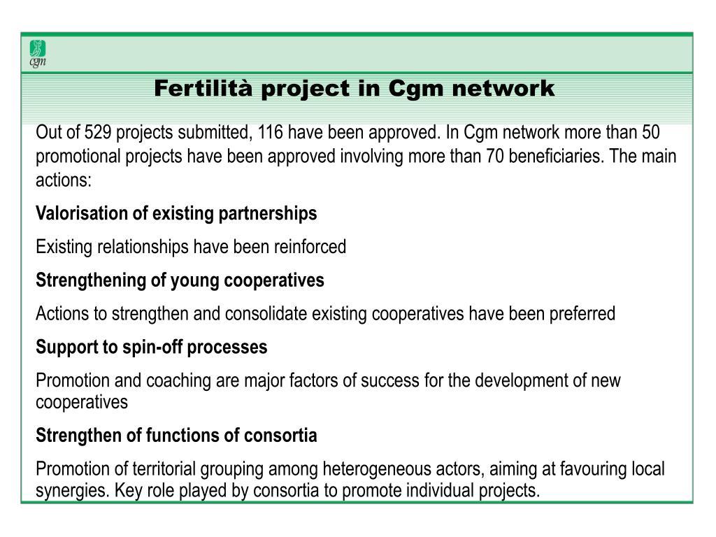 Fertilità project in Cgm network