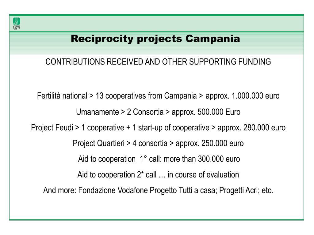 Reciprocity projects Campania