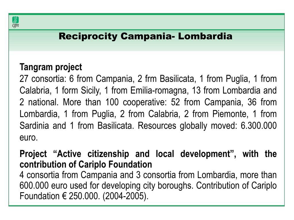 Reciprocity Campania- Lombardia