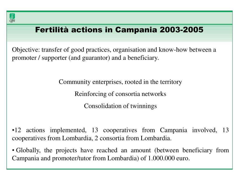 Fertilità actions in Campania 2003-2005