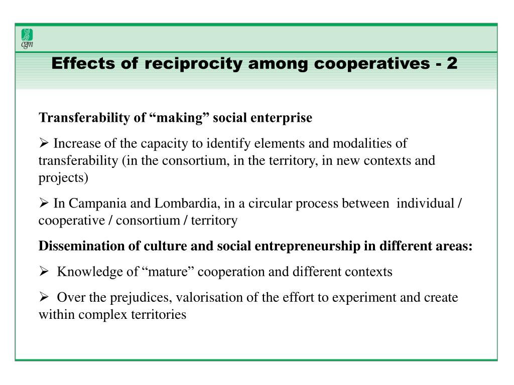 Effects of reciprocity among cooperatives - 2