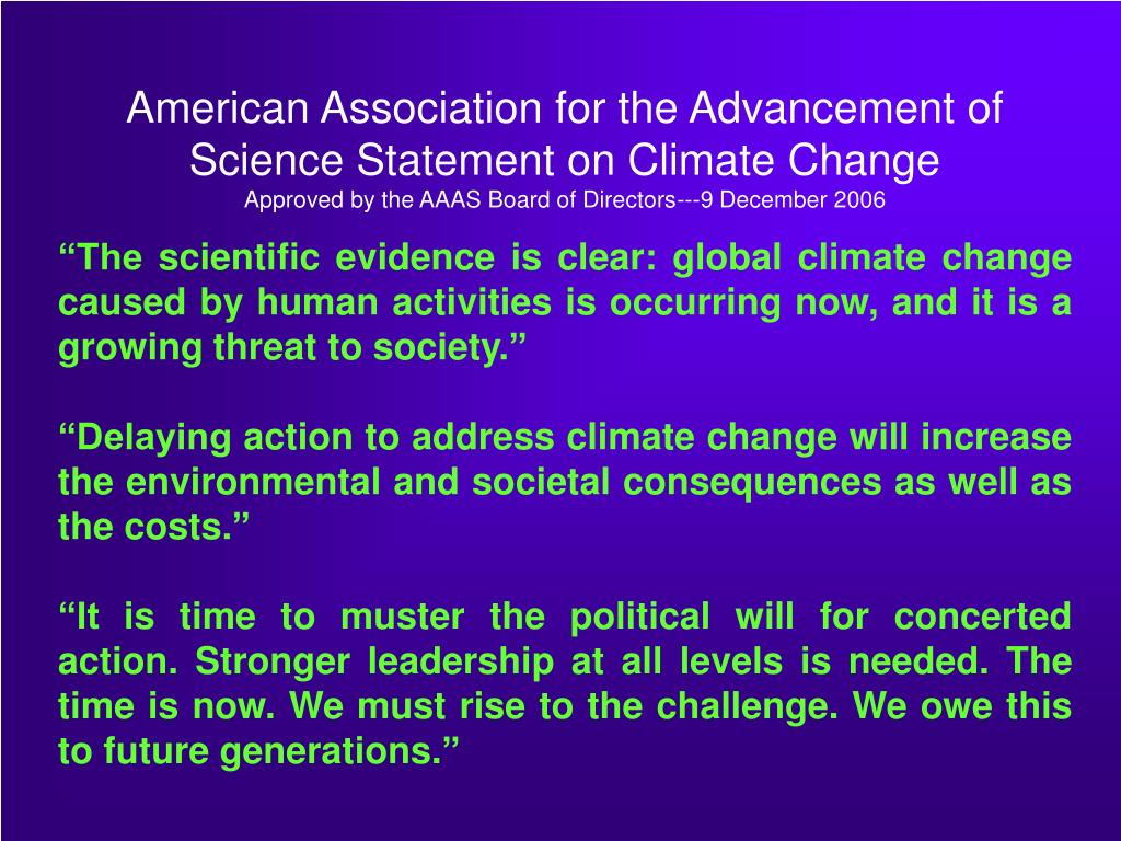 American Association for the Advancement of Science Statement on Climate Change