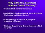 why is the u s starting to address global warming