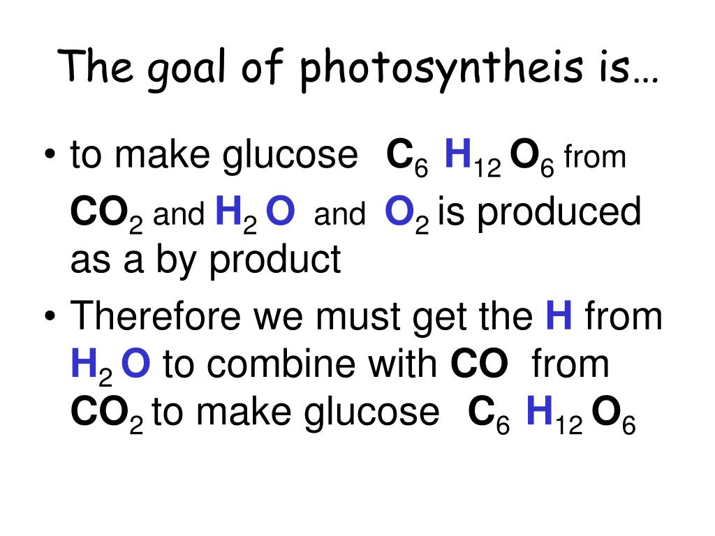 The goal of photosyntheis is…