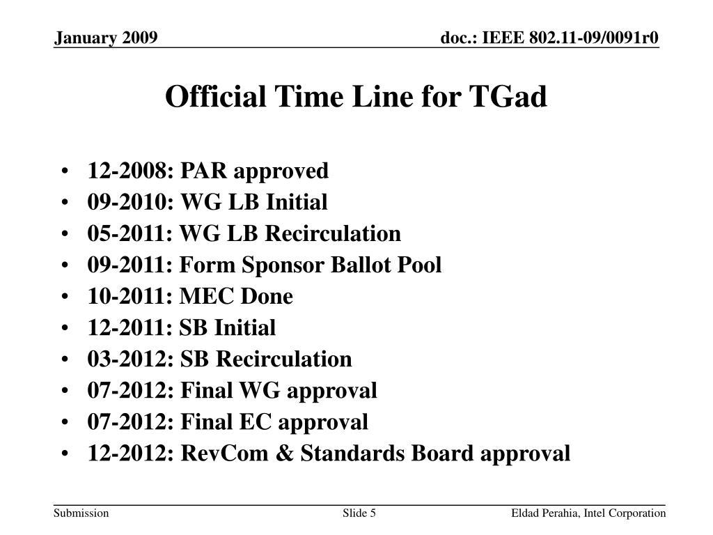 Official Time Line for TGad