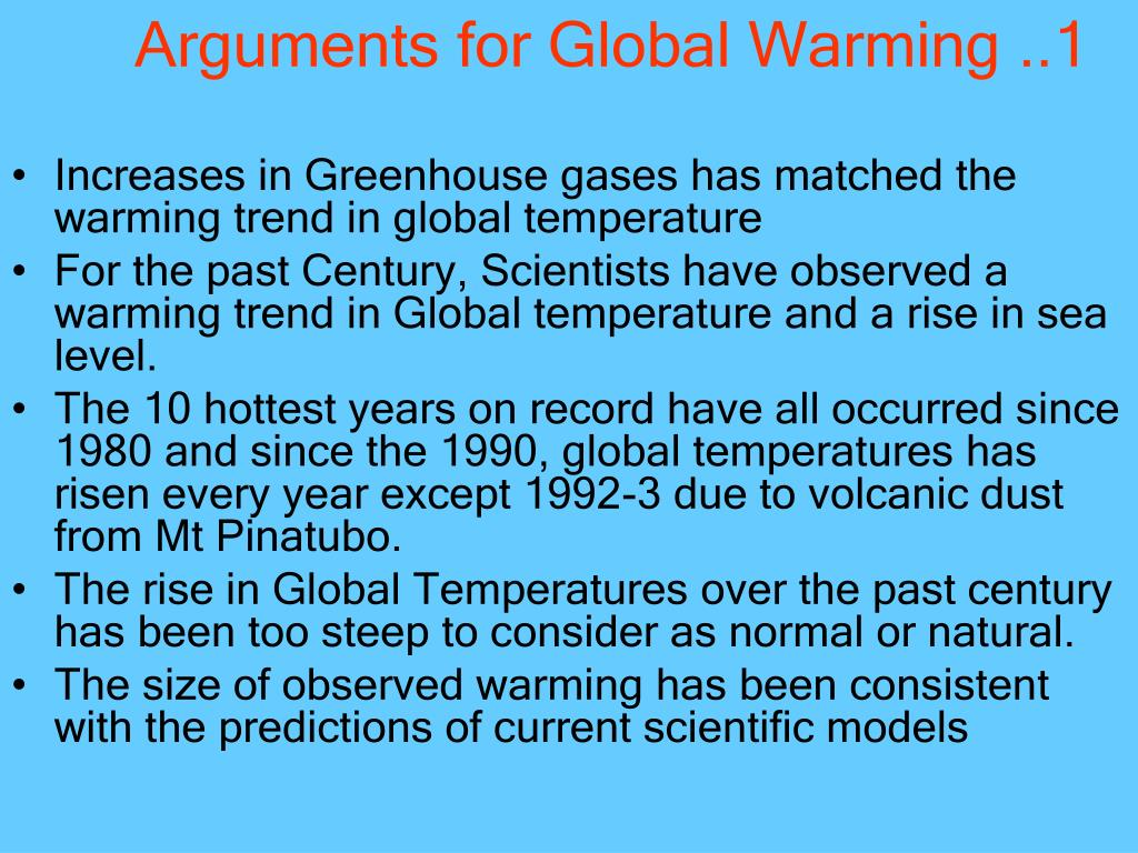 Arguments for Global Warming ..1