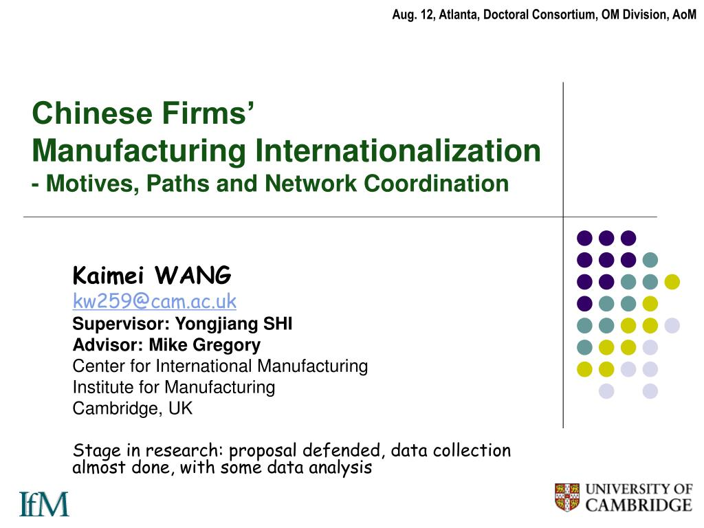 chinese firms manufacturing internationalization motives paths and network coordination