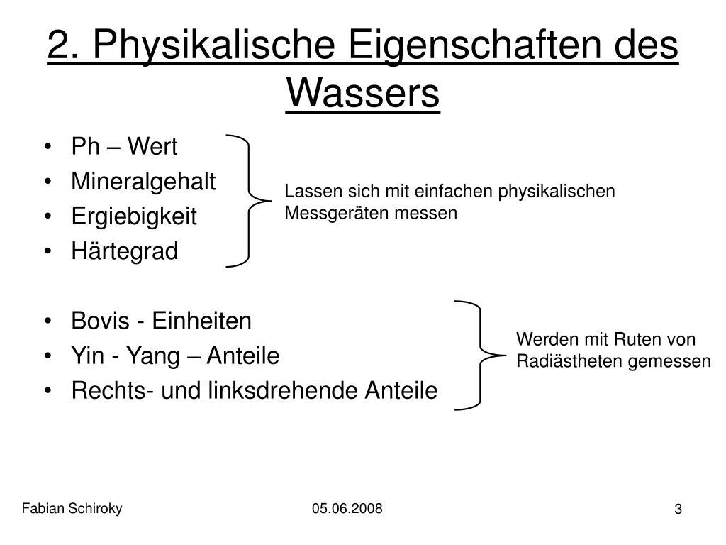 2. Physikalische Eigenschaften des Wassers
