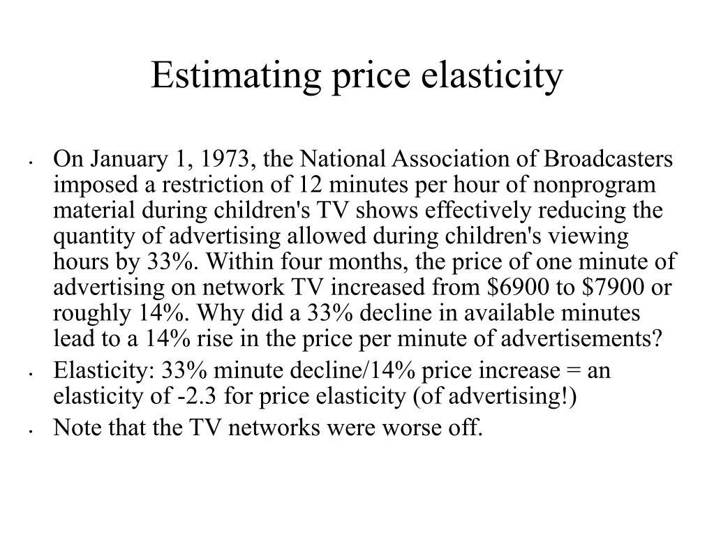 Estimating price elasticity