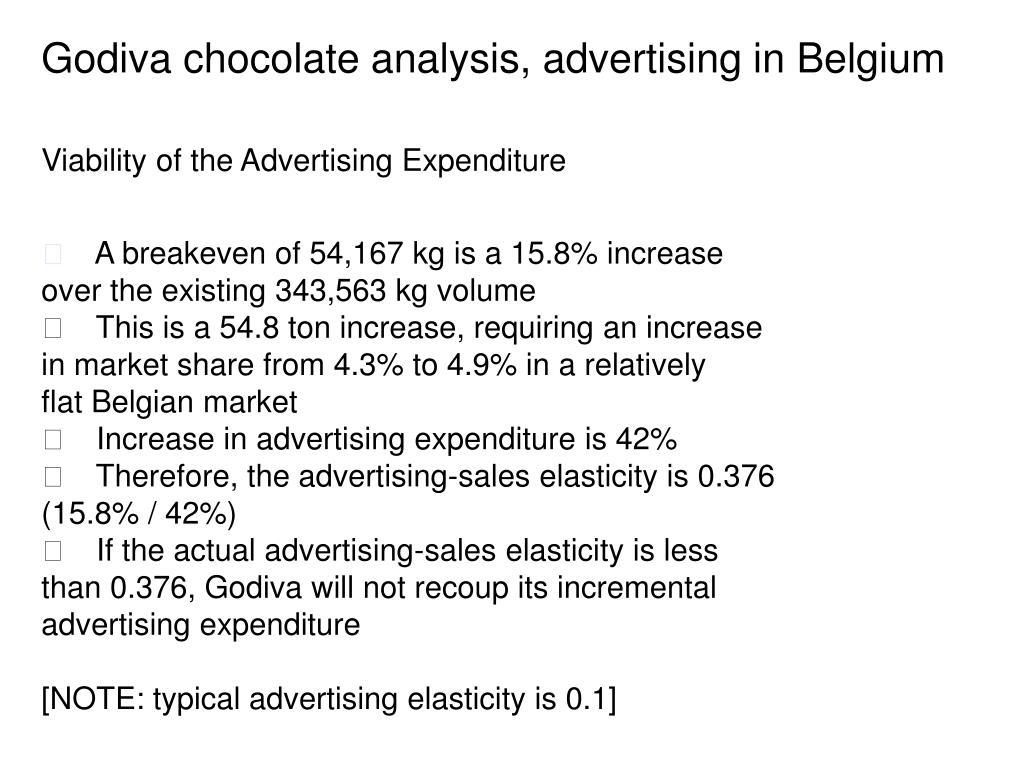 Godiva chocolate analysis, advertising in Belgium